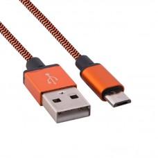 Kablo pleteno USB - micro USB narandžasti 1 m