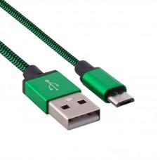 Kablo pleteno USB - micro USB zeleni 1 m