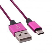 Kablo pleteno USB - micro USB rozi 1 m